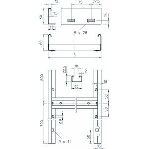SLL 640 CPS 4 FS, Steigeleiter mittelschwer mit CPS-Sprosse 60x400x6000, St, FS
