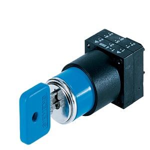 3SB3000-3AG11, Schlüsselschalter O.M.R, 22mm, rund Kunststoff, Schließnr. 73038, blau