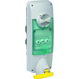 Wandsteckdose verriegelt, 63A, 3p+N+E, 100-130 V AC, IP65