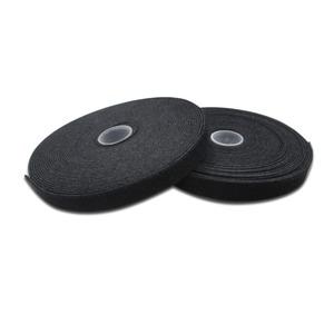 Haken-und-Schlaufen Verschlussband Gewebe, 10m x 15mm x 2,6 mm, auf Rolle, UL, sw
