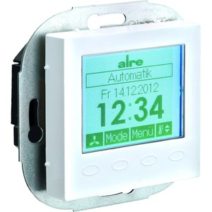 KTRRUu-257.456#55, Klimaregler elektronisch, UP, 5...40°C, für 2-/4-Rohrsysteme, mit Display, mit Abdeckung 55 x 55 mm reinweiß (ähnlich RAL 9010), glänzend