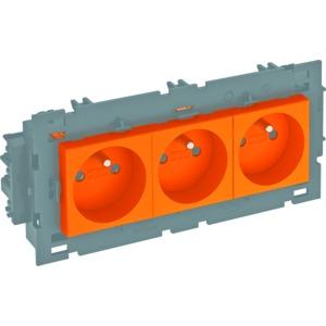 STD-F0C8 ROR3, Steckdose 0°, 3-fach mit Erdungsstift, Connect 80 250V, 10/16A, PC, reinorange, RAL 2004