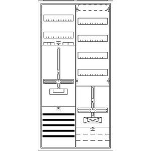 KS244, Komplettschrank, Aufputz mit Zählerkreuz, 2/3A 1Z1TRE+V4