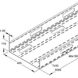 RSV 110.400 F, Verteilerrinne, 110x400x3000 mm, t=1,5 mm, gelocht, Stahl, feuerverzinkt DIN EN ISO 1461, mit Verbinder inkl. Zubehör