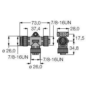 RSM-2RKM50, 2-fach-Verteilersysteme, T-Verteiler ohne Leitung