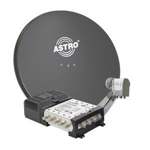 ASP Paket 1 Ab auf´s Dach, Set: 1 x Offset-Parabolantenne ASP 85 anthrazit, 85 cm Durchmesser, 1 x ACX 945 Quatro-Universal Speisesystem zum Anschluss eines Multischalters, 1 x