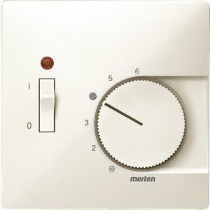 Zentralplatte für Raumtemperaturregler-Einsatz mit Schalter, weiß, System Fläche