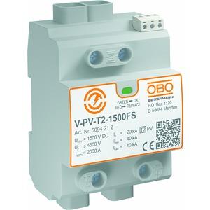 V-PV-T2-1500+FS, SurgeController V-PV Y-Schaltung für PV-Anlagen +FS 1500V DC, grau