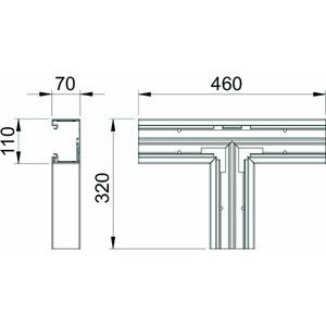GK-T70110CW, T-Stück 70x110mm, PVC, cremeweiß, RAL 9001