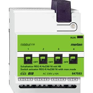 Schaltaktor REG-K/4x230/16 mit Handbetätigung, lichtgrau