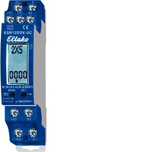 ESR12DDX-UC, Digital einstellbares Multifunktions-Stromstoß-Schaltrelais, 1+1 Schließer pot.frei 16A/250V AC