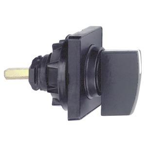 Betätigungsvorsatz,45x45 mm,T=22 mm,schwarz,schw. Drehknopf + schw. Schild. 3-3