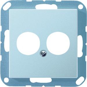 A 562-2 BF ANM, Abdeckung, Tragring, bruchsicher, für 2 Kleinsteckdosen (Lautsprecher), 2 Eingänge geöffnet