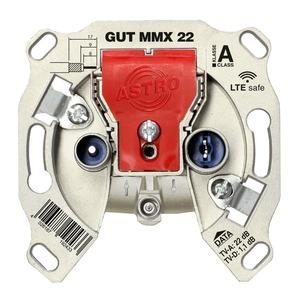 GUT MMX 22, BK-Modem-Durchgangsdose, 5 - 1218 MHz, TV- & Modem-Anschlussdämpfung ca. 22 dB, Stammdurchlassdämpfung ca. 1 dB, Wiclic-Konnektor für den Anschluss ei