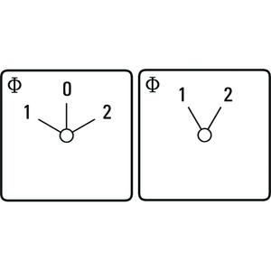 Umschalter, 1-0-2, 60Grad, 1-polig, 20 A, Fronteinbau, ZentralBef. Ø 22,5,  IP 66,