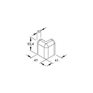 SFA50.6, Außeneck 90°, 53,4x17 mm, Kunststoff ASA, RAL 9001, cremeweiß