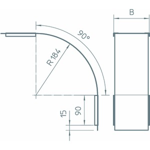 DBV 60 400 F FS, Deckel für Vertikalbogen 90° fallend B400mm, St, FS