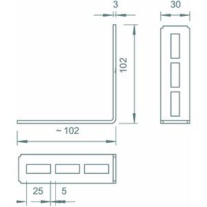 CMW90FT, Montagewinkel 90° 102x102x30, St, FT