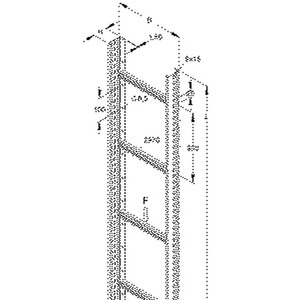 STL 60.603/6 F, Steigetrasse, 60x600x6000 mm, Sprossenabstand 300 mm, 1 kN, t=1,5 mm, Stahl, feuerverzinkt DIN EN ISO 1461
