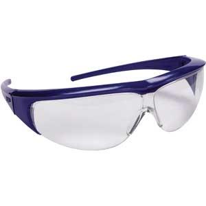 Klare Einscheiben-Schutzbrille blau mit flexiblen Kopfband