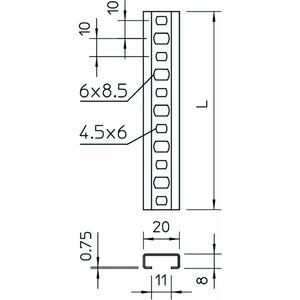 CL2008BP1000FS, Profilschiene gelocht, Schlitzweite 11mm 1000x20x8, St, FS