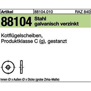 ART 88104 Kotfl.-Sch. St. 6,4x 20 x 1,5 galv. verzinkt gal Zn VE=S