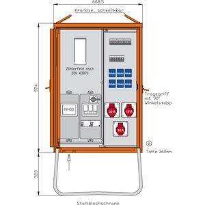 Anschlussverteilerschrank 44kVA mit Zählerplatz, RCD TypA, 3 CEE-Abgängen 16-32A und 6 Schukos-WAV0131