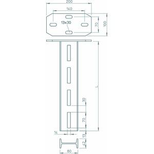 IS 8 K 110 FT, Hängestiel mit angeschweißter Kopfplatte 80x42x1100, IS 8 K/110