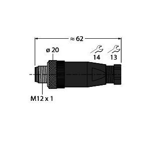BS8141-0/PG9, M12 x 1 Rundsteckverbinder, Konfektionierbarer Stecker, gerade