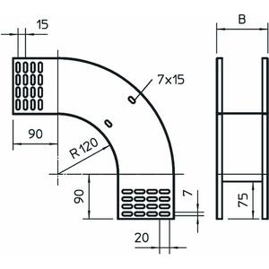 RBV 115 F FT, Vertikalbogen 90° fallend 110x150, St, FT