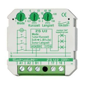 ZS U2, Lichtzeit-Impulsschalter ZS U2  mit 3 Modi, 1 Schliesser, 16A, Unterputz