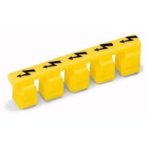 Warnabdeckung mit schwarzem Blitzpfeil für 5 Klemmen gelb