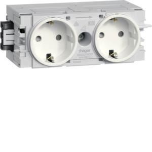 Steckdose, cremeweiß/elektroweiß, Geräteeinbaukanal, 2 Fach, IP20