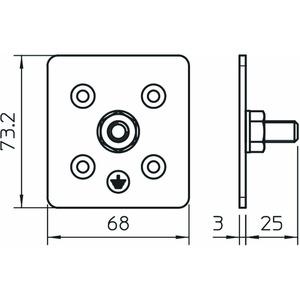 MCF-MS-M10, Montageplatte M10 Gewindeausführung M10, V2A, 1.4301