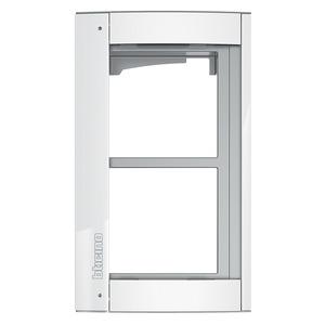 Bticino 350222, Abdeckrahmen + Modulträger 2 Module, Türstation SFERA Aluminium, Farbe: Allwhite