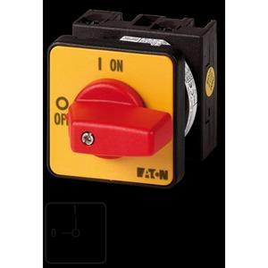 T0-1-8200/E-RT, EIN-AUS-Schalter, T0, 20 A, Einbau, 1 Baueinheit(en), 1-polig, NOT-AUS-Funktion, mit rotem Knebel und gelbem Frontschild