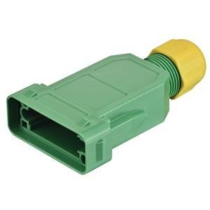 Kupplungsgehäuse, Rastverriegelung, gerader Kabeleingang, 1x integriert, Werkstoff Gehäuse: Polycarbonat, grün, gelb, Schutzart: IP65