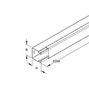 LLK 40.040 W, Leitungsschutzkanal mit Deckel, 40x40x2000 mm, mit Bodenlochung, Stahl, bandverzinkt DIN EN 10346, pulverbeschichtet,RAL