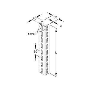 U 6040/1500 E3, U-Profil, 60x40x1500 mm, gelocht, Edelstahl, Werkstoff-Nr.: 1.4301, 1.4303