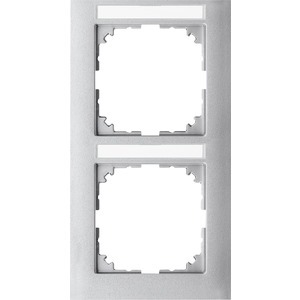 M-Pure-Rahmen, 2fach m. Beschriftungsträger, senkr. Montage, aluminium, M-Pure