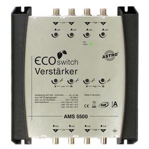 AMS 5500 ECOswitch, SAT-ZF Verstärker ferngespeist, 4 Eingänge für eine Satellitenposition, Betrieb mit vorgeschaltetem Systembasisgerät oder Standalone-Multischalter mit