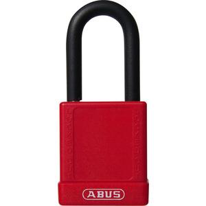 74/40 rot, Safety Schloss, 40 mm, Aluminiumkörper und Bügel kunststoffummantelt, mit Warnaufklebern,