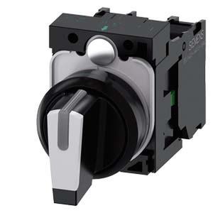 3SU1100-2BL60-1NA0, Knebelschalter, beleuchtbar, 22mm, rund, Kunststoff, schwarz, weiß, 1S, 1S