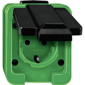 Steckdose, grün, Aufputz AP, 1 Fach, IP44