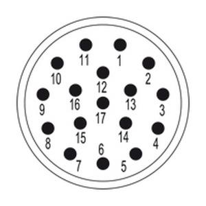 SAI-M23-SE-17, Kontakteinsatz (Rundsteckverbinder), Einsatz, Stift, 17-polig, Crimpanschluss, M23, Polzahl: 17, Codierung: keine