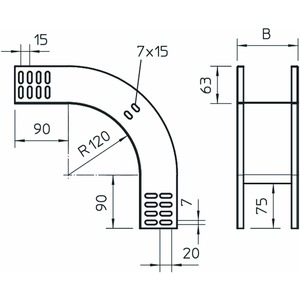 RBV 615 F FS, Vertikalbogen 90° fallend 60x150, St, FS