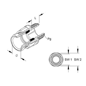 251/09, CONUS-Kabelverschraubung, Pg 9, Kabel-Ø 4,5-7 mm, Gewindelänge 15 mm, Kunststoff PS, RAL 7035, lichtgrau