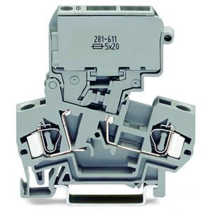 2-Leiter-Sicherungsklemme mit schwenkbarem Sicherungshalter für G-Sicherungseinsatz 5 x 20 mm 4 mm² grau