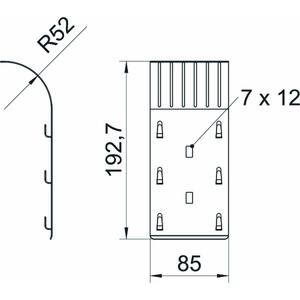 KAB GR FT, Kabelabgangsblech für Gitterrinne 192x85x51, St, FT