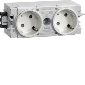 Steckdose, cremeweiß/elektroweiß, Geräteeinbaukanal, 2 Fach